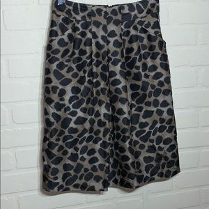 Rebecca Taylor pocket silk animal print skirt 6